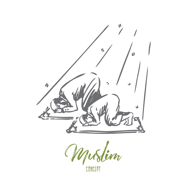 Hand drawn dad and son praying concept sketch. Premium Vector