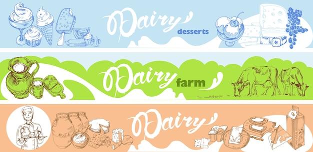 Hand drawn dairy horizontal banners Free Vector