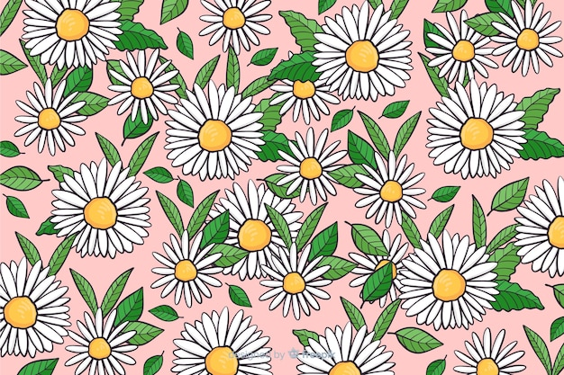 Hand drawn daisies background Free Vector