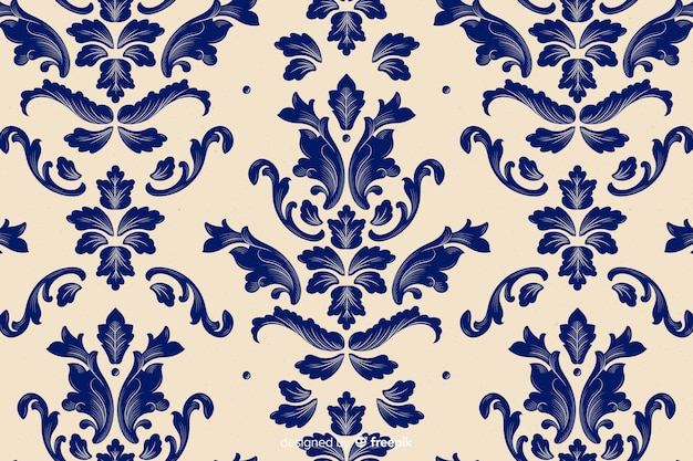 Hand drawn damask background Free Vector