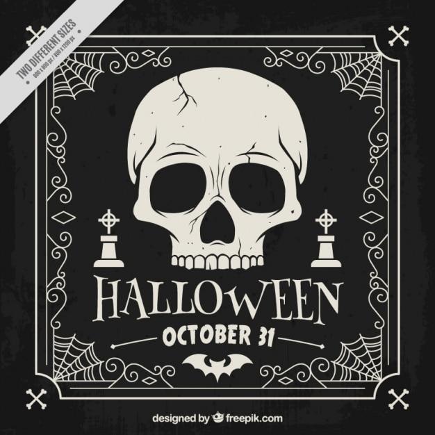 Hand drawn dark background of halloween skull  Free Vector
