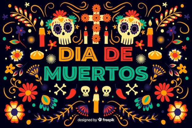 Hand drawn day of the dead background Premium Vector