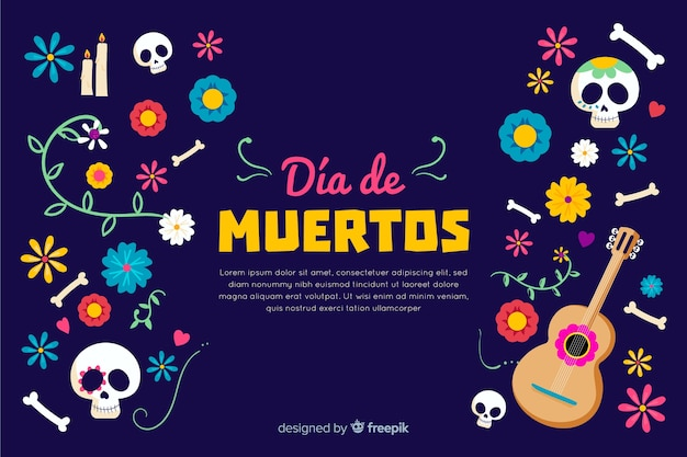Hand drawn day of the dead background Free Vector
