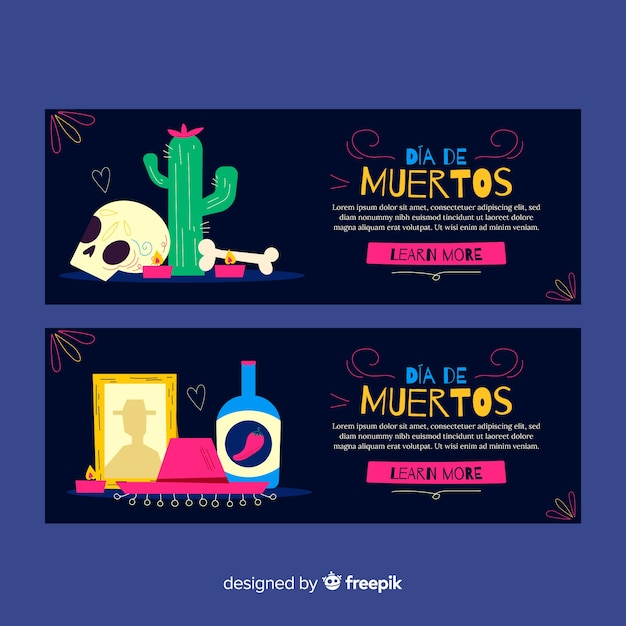 Hand drawn day of the dead banners Free Vector
