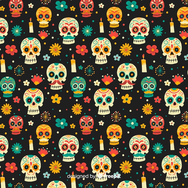 Hand drawn day of the dead pattern Free Vector