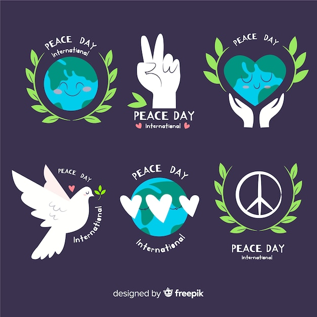 Hand drawn day of peace label collection with flat design Free Vector