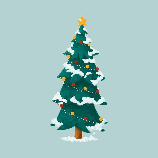 Нарисованная рукой украшенная иллюстрация рождественской елки Бесплатные векторы