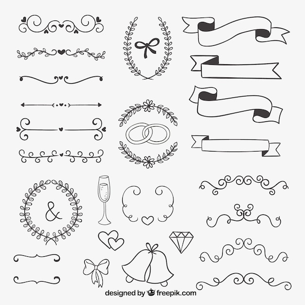 Hand drawn decoration for wedding Free Vector