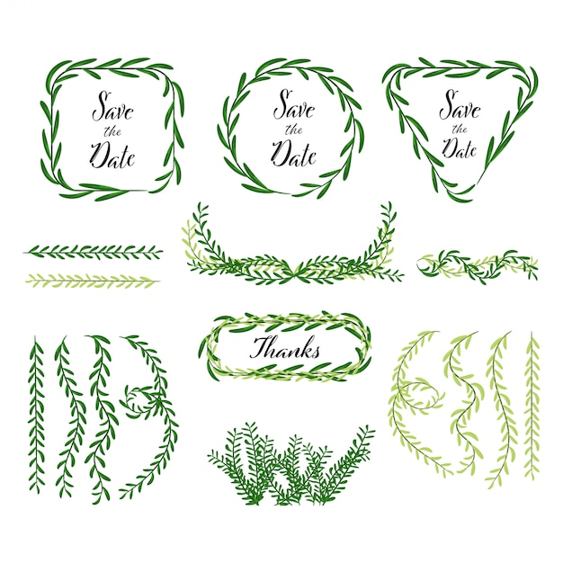 Hand drawn decoration of leaves and natural element Premium Vector