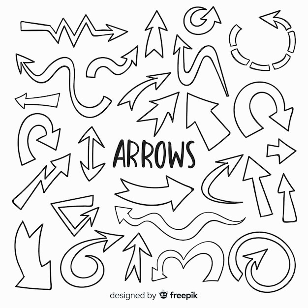 Hand drawn decorative arrow collection Free Vector