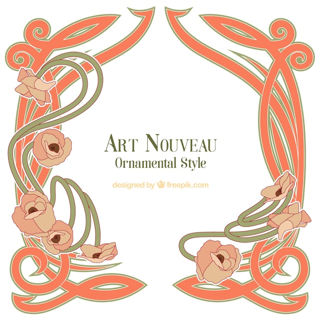 Hand drawn decorative art nouveau frame Vector | Free Download