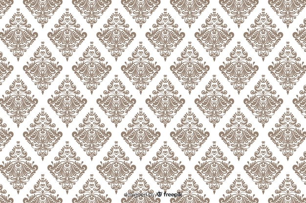 Hand drawn decorative damask background Free Vector