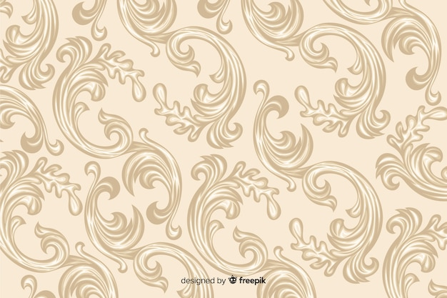 Hand drawn decorative damask background Free Vector