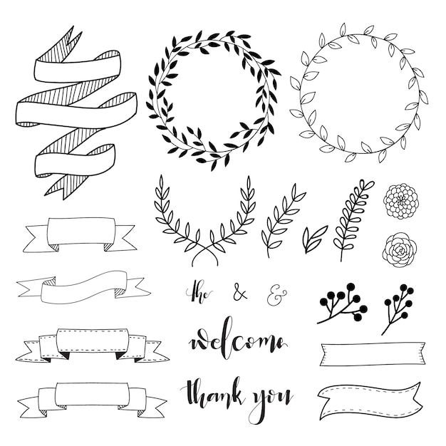 Hand drawn decorative elements vector free download for Decoration elements