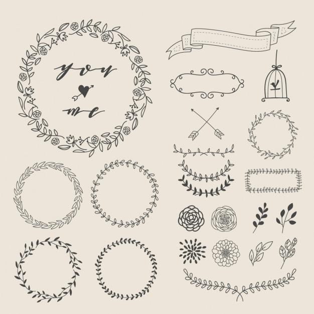 Hand drawn decorative elements Free Vector