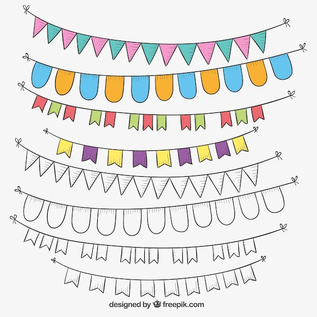 hand drawn decorative flags free vector - Decorative Flags