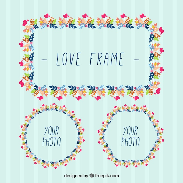 Hand drawn decorative frames with leaves and hearts Free Vector