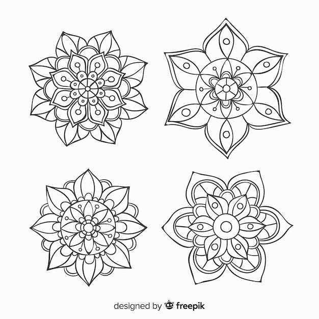 Hand drawn decorative mandala collection Free Vector