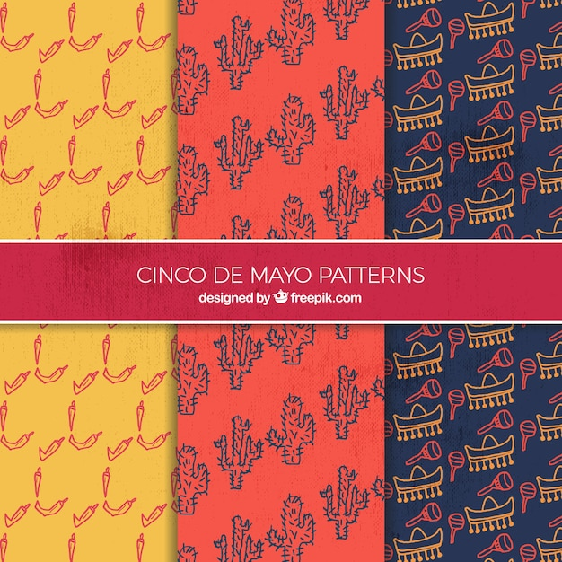 Hand drawn decorative patterns of cinco de mayo Free Vector