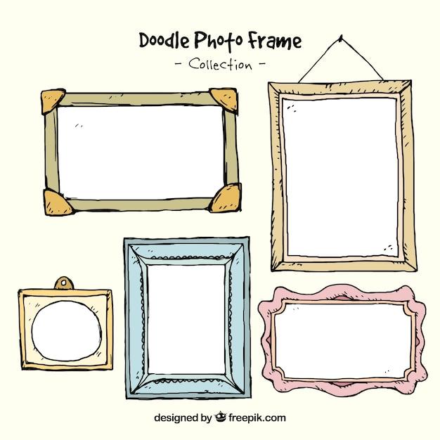 Hand drawn decorative photo frames Free Vector