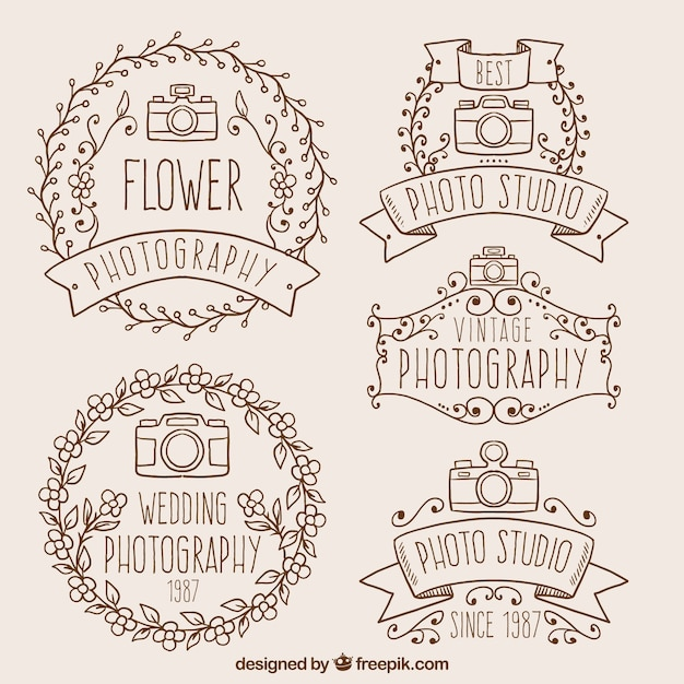 Hand drawn decorative photography badges in vintage style Free Vector