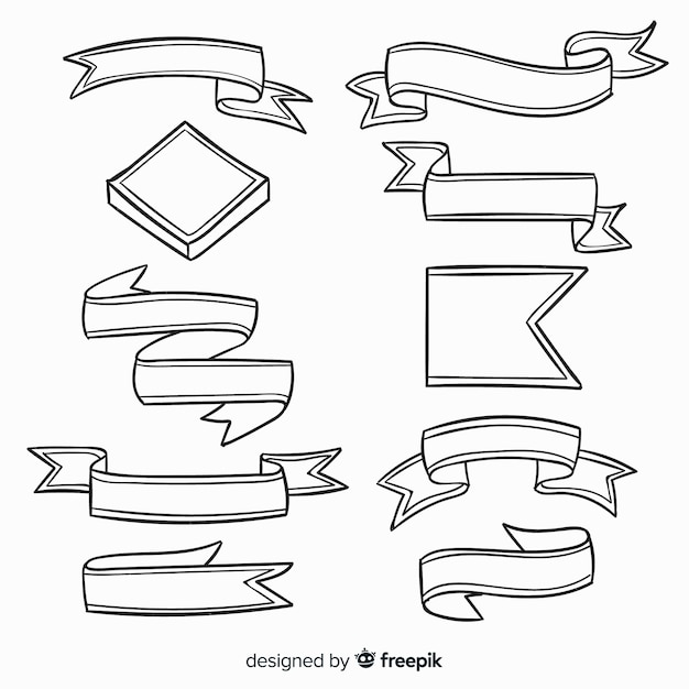 Hand drawn decorative ribbon collection Free Vector