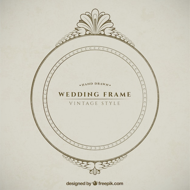 Hand drawn decorative round wedding frame vector premium download hand drawn decorative round wedding frame premium vector junglespirit Images