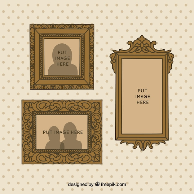 Hand drawn decorative vintage frames on the wall Vector | Free Download
