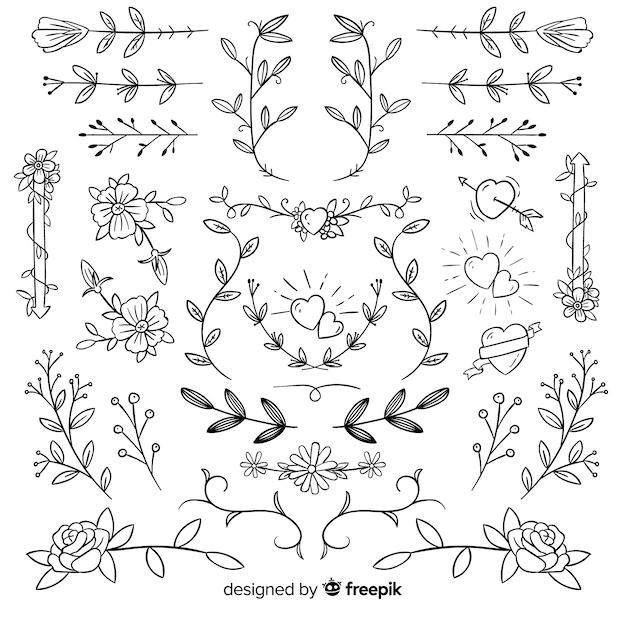 Koleksi ornamen pernikahan dekoratif yang digambar tangan Vektor Gratis