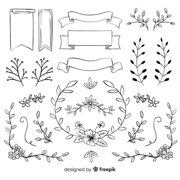 Ornamen pernikahan dekoratif yang digambar tangan mengatur Vektor Gratis