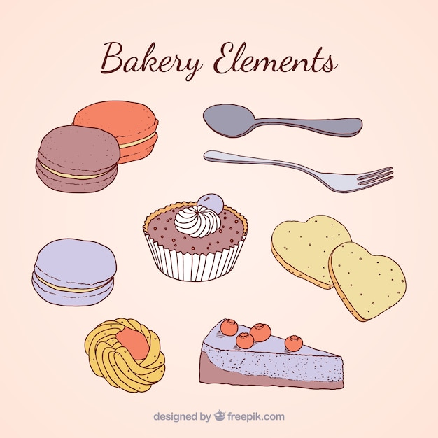 Hand drawn delicious bakery elements Free Vector