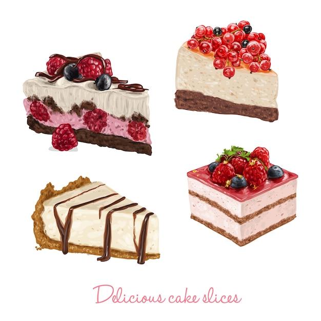 Hand drawn delicious cake slices Premium Vector