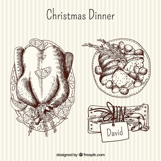 Hand drawn delicious christmas dinner Free Vector