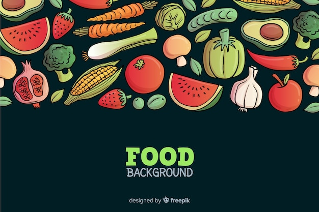 Hand drawn delicious food background Free Vector