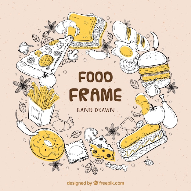 Hand drawn delicious food frame Free Vector