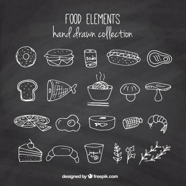 Hand drawn delicious foodstuffs Free Vector