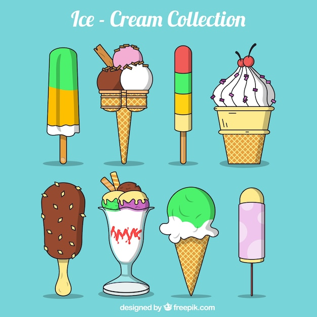 Hand drawn delicious ice creams and desserts\ set