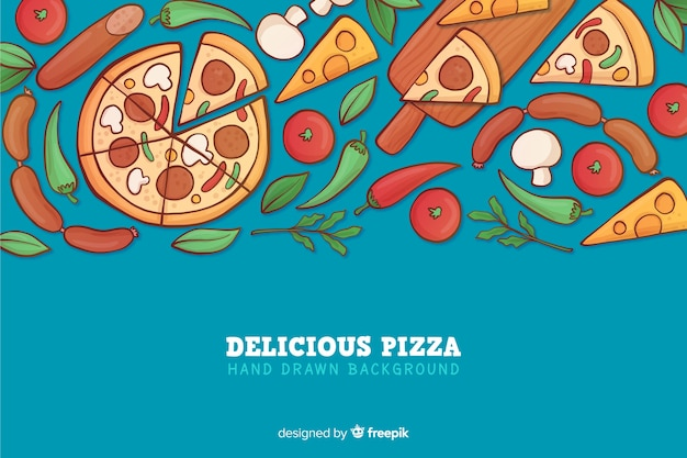 Hand drawn delicious pizza background Free Vector