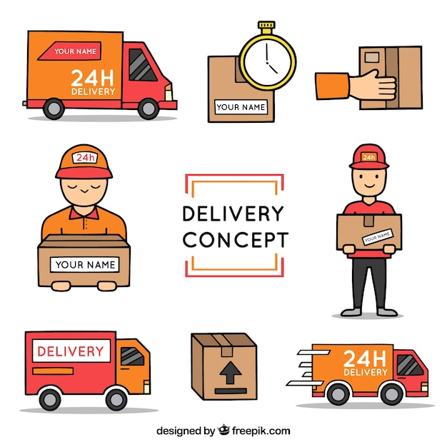 Hand drawn delivery elements Free Vector