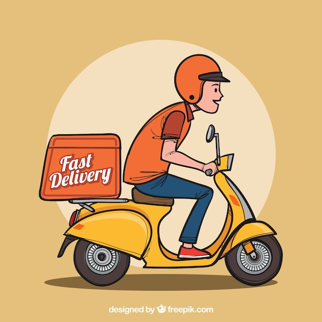 Hand drawn delivery man on scooter Free Vector
