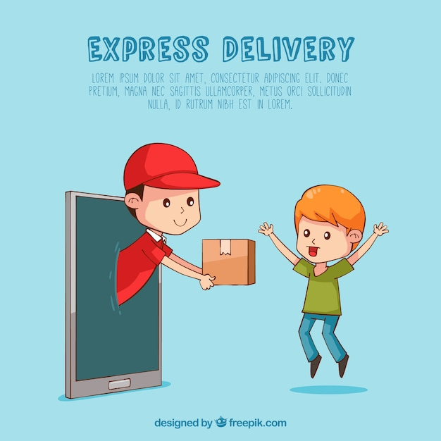 Hand drawn deliveryman and happy kid