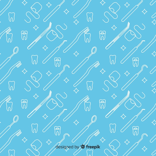 Hand drawn dental product pattern Free Vector