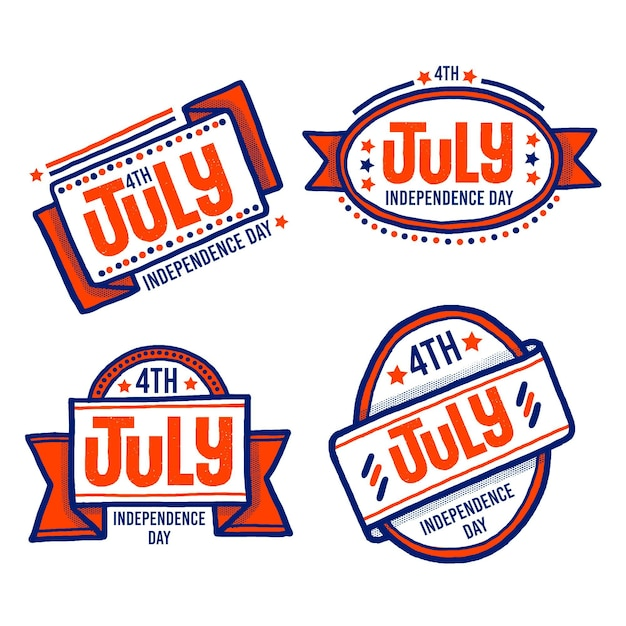Hand drawn design 4th of july badges Free Vector