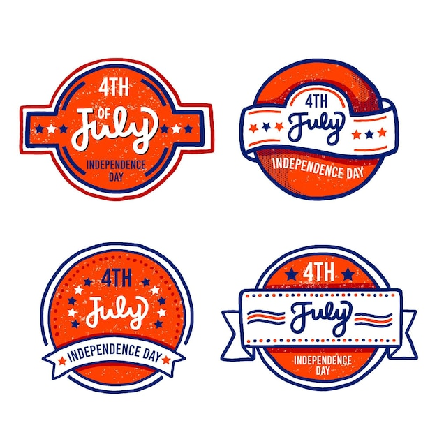 Hand drawn design 4th of july labels Free Vector