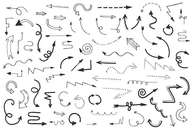 Hand drawn design arrow pack Free Vector