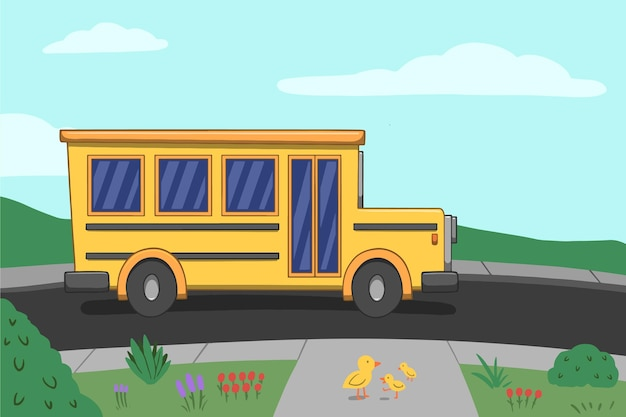 Ручной обращается дизайн обратно в школьный автобус Бесплатные векторы