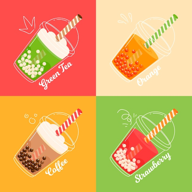 Hand drawn design bubble tea flavors Free Vector
