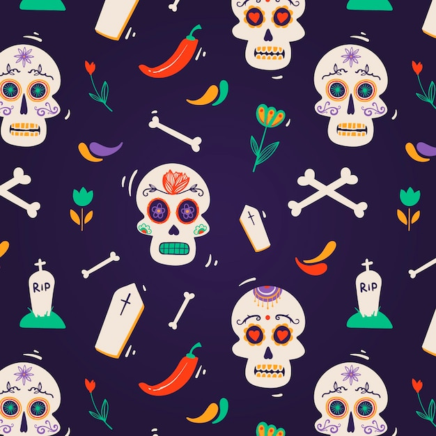 Hand drawn design day of the dead pattern Free Vector