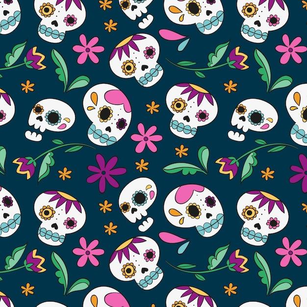 死んだパターンの手描きデザインの日 無料ベクター