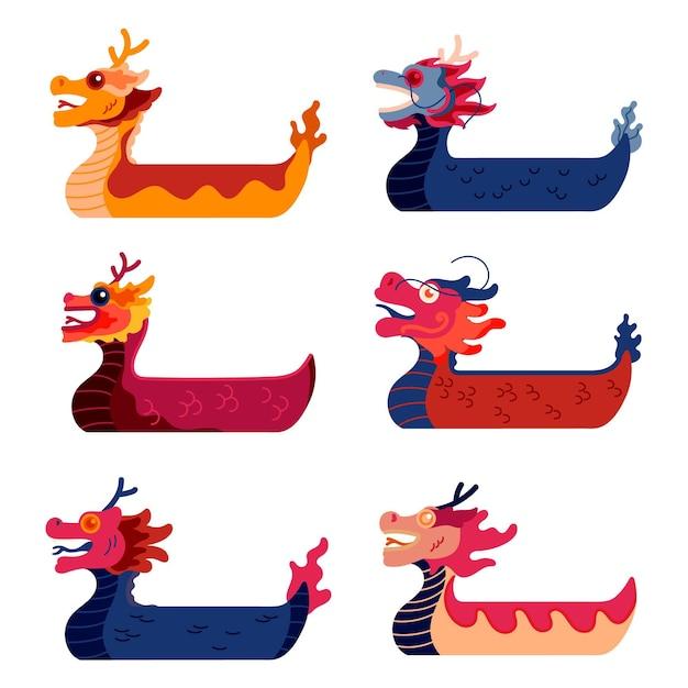 Коллекция рисованной драконьей лодки Бесплатные векторы